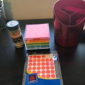 Washi Tape, Memo Pad, Color Coding Labels, Holder